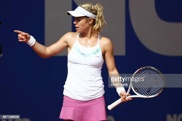 Laura Siegemund of Germany in action against Katharina Hobgarski of Germany in the first round during the WTA Nuernberger Versicherungscup on May 23...
