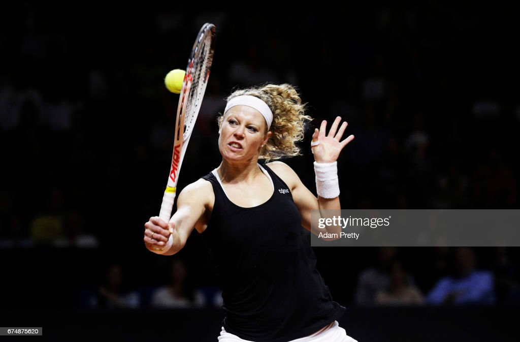 Laura Siegemund of Germany plays a backhand during her match against Simona Halep of Romania during the Porsche Tennis Grand Prix at Porsche Arena on April 29, 2017 in Stuttgart, Germany.