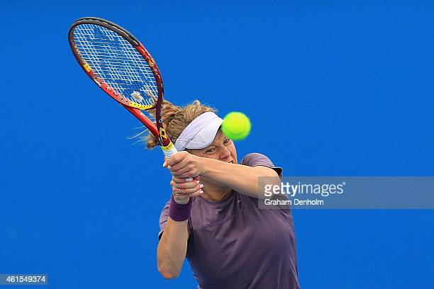 Laura Siegemund of Germany plays a backhand in her qualifying match against Stephanie Vogt of Liechtenstein for the 2015 Australian Open at Melbourne...