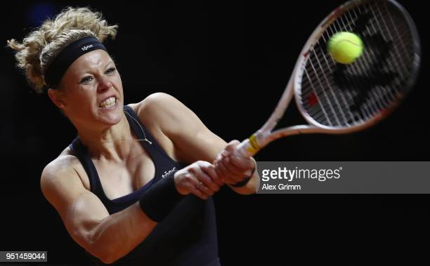 Laura Siegemund of Germany plays a backhand to CoCo Vanderweghe of the United States during day 4 of the Porsche Tennis Grand Prix at PorscheArena on...