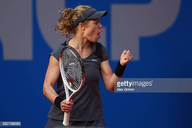 Laura Siegemund of Germany reacts during her match against Mariana DuqueMarino of Colombia during day five of the Nuernberger Versicherungscup 2016...