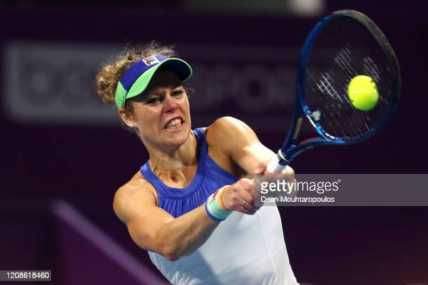 Laura Siegemund of Germany returns a backhand against Ashleigh Barty of Australia during Day 3 of the WTA Qatar Total Open 2020 at Khalifa...