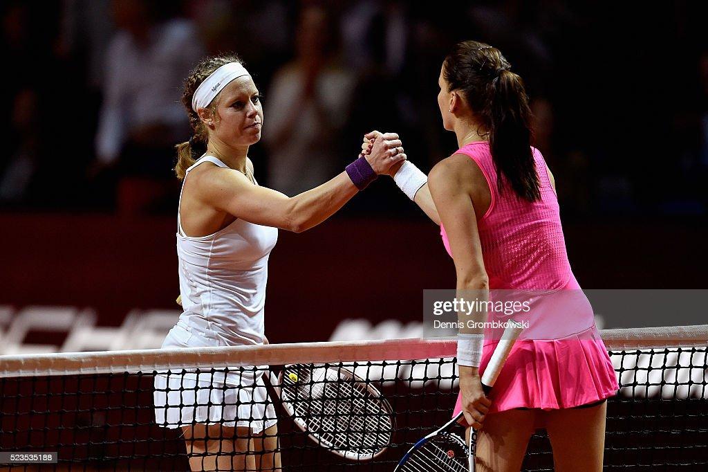 Laura Siegemund of Germany shakes hands with Agnieszka Radwanska of Poland after their semi final match during Day 6 of the Porsche Tennis Grand Prix at Porsche-Arena on April 23, 2016 in Stuttgart, Germany.