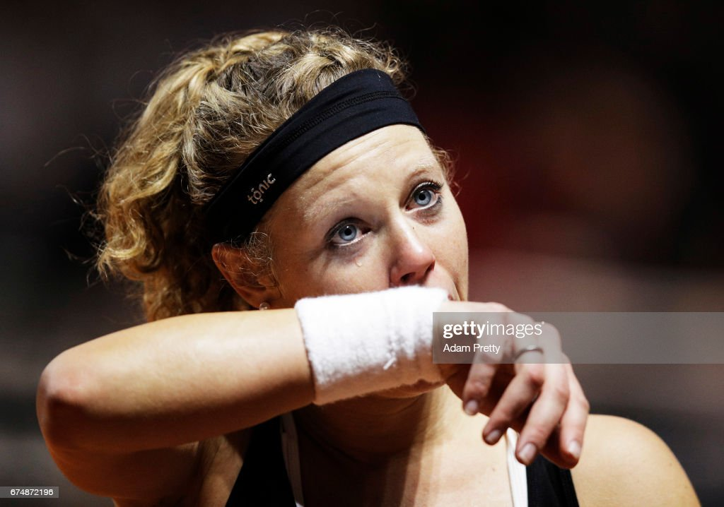 Laura Siegemund of Germany sheds a tear as she celebrates winning match point against Simona Halep of Romania during the Porsche Tennis Grand Prix at Porsche Arena on April 29, 2017 in Stuttgart, Germany.