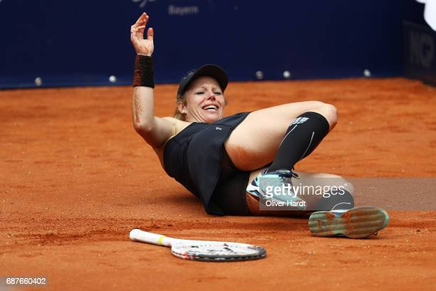 Laura Siegemund of Germany to injure in her match against Barbara Krejcikova of Czech Republic in the round of sixteen during the WTA Nuernberger...