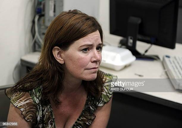 US Laura Silsby head of Idahobased charity called New Life Children's Refuge sits at a police station in PortauPrince on January 31 2010 Police in...