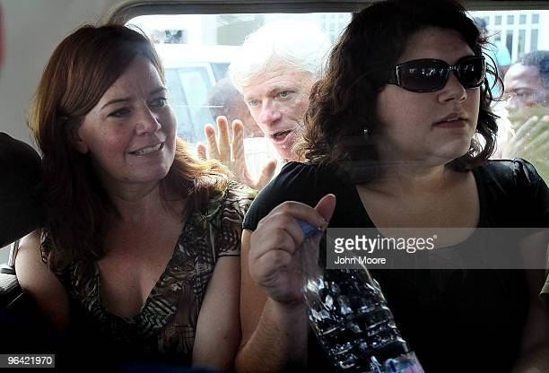 Laura Silsby the head of New Life Children's Refuge leaves a court hearing with another member of her group Charisa Coulter February 4 2010 after...