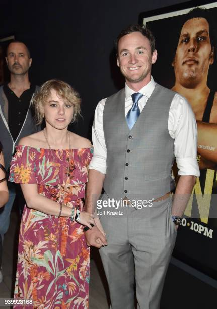 Laura Slade Wiggins and Kyle Weishaar attend the Los Angeles Premiere of Andre The Giant from HBO Documentaries on March 29 2018 in Los Angeles...