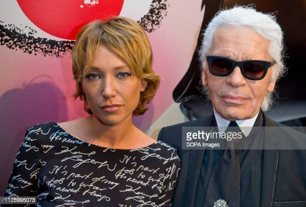 Laura Smet and Karl Lagerfeld attend the Sho Uemura event at Espace Commines in Paris German fashion designer and creative director for the french...