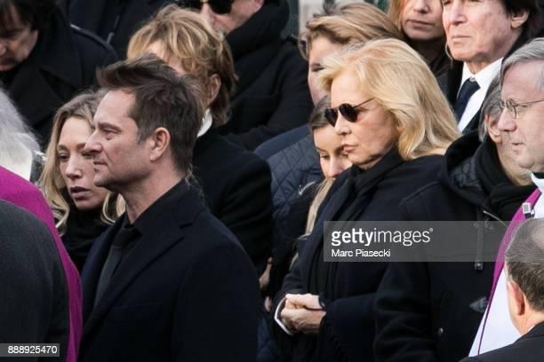 Laura Smet David Hallyday and Sylvie Vartan are seen during Johnny Hallyday's funerals at Eglise De La Madeleine on December 9 2017 in Paris France...