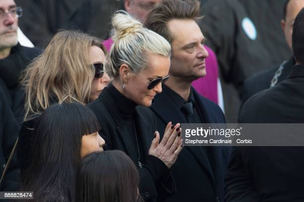 Laura Smet Laetitia Hallyday David Hallyday Jade and Joy Hallyday are seen after the Johnny Hallyday's Funeral at Eglise De La Madeleine on December...