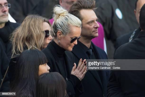 Laura Smet Laetitia Hallyday David Hallyday Jade and Joy Hallyday are seen after the Johnny Hallyday's Funeral at Eglise De La Madeleine on December...