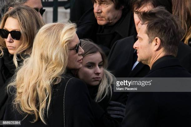 Laura Smet Sylvie Vartan Ilona Smet and David Hallyday are seen during Johnny Hallyday's funerals at Eglise De La Madeleine on December 9 2017 in...