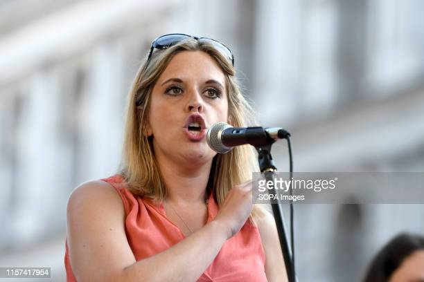 Laura Smith MP speaks at the anti Boris Johnson rally in London Protesters gathered outside Downing Street to protest against the announcement of...