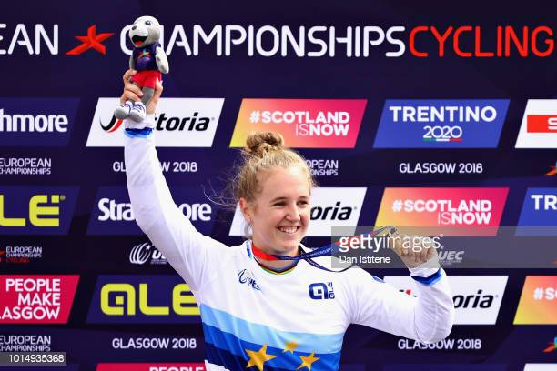 Laura Smulders of Netherlands celebrates winning gold in the Women's Final during the BMX on Day Ten of the European Championships Glasgow 2018 on...