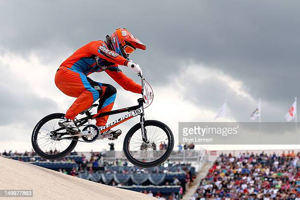 Laura Smulders of Netherlands competes during the Women's BMX Cycling on Day 12 of the London 2012 Olympic Games at BMX Track on August 8, 2012 in...