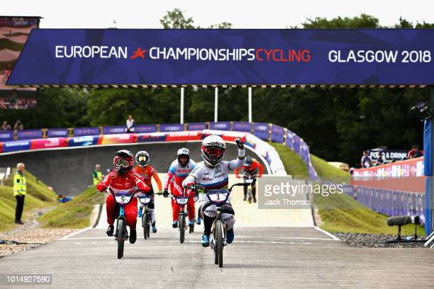 Laura Smulders of Netherlands crosses the line to win gold in the Women's Final during the BMX on Day Ten of the European Championships Glasgow 2018...