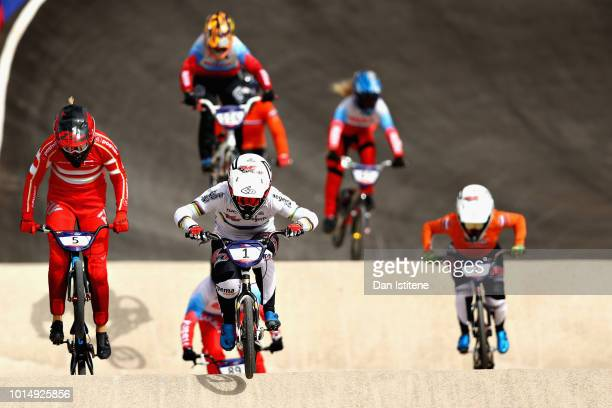 Laura Smulders of Netherlands leads the field in the Women's Final during the BMX on Day Ten of the European Championships Glasgow 2018 on August 11...