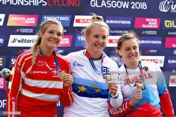 Laura Smulders of Netherlands Simone Tetsche Christensen of Denmark and Yaroslava Bondarenko of Russia are presented with their medals for the...