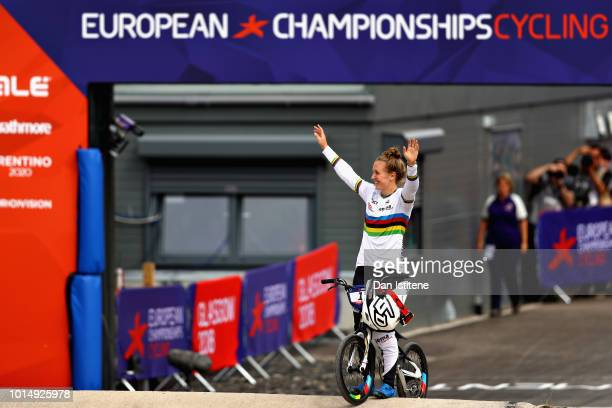 Laura Smulders of Netherlands waves to the crowd after winning gold in the Women's Final during the BMX on Day Ten of the European Championships...