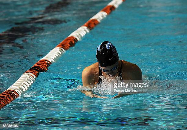 Laura Sogar swims in the Women's 200 yard IM preliminaries during day one of the 2009 USA Swimming Austin Grand Prix on March 5 2009 at the Lee and...