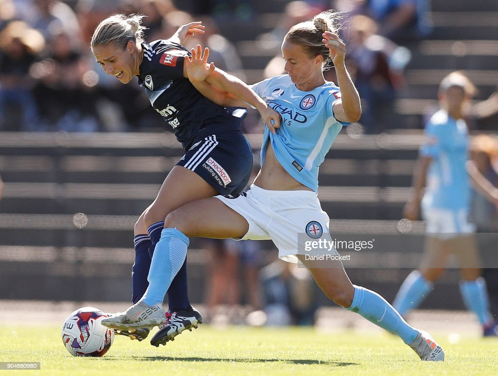 Laura Spiranovic of Melbourne Victory and Aivi Luik of Melbourne City contest the ball during the round 11 W-League match between the Melbourne Victory and Melbourne City at Epping Stadium on January 14, 2018 in Melbourne, Australia.
