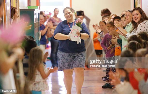 Laura Stevens, a teacher at James Otis Kaler Elementary School, received a schoolwide welcome home on Monday morning after receiving the Presidential...