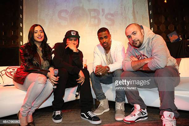 Laura Stylez Ebro Big Sean and Peter Rosenberg attend the Hot 97 QA at SOB's on February 23 2015 in New York City