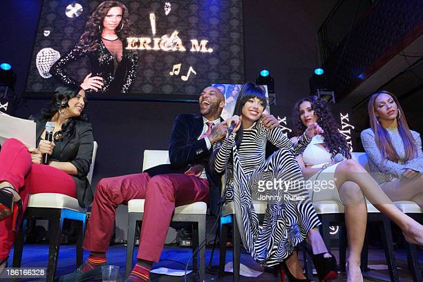 Laura Stylez Joe Budden Erica Mena Cyn Santana and Amina Buddafly attend the Love And Hip Hop Season 4 Launch at Stage 48 on October 28 2013 in New...