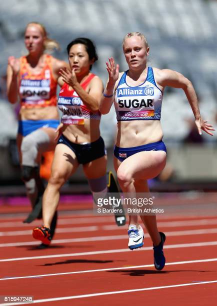 Laura Sugar of Great Britain competes in the Women's 100m T44 Round 1 Heat 2 during Day Four of the IPC World ParaAthletics Championships 2017 London...