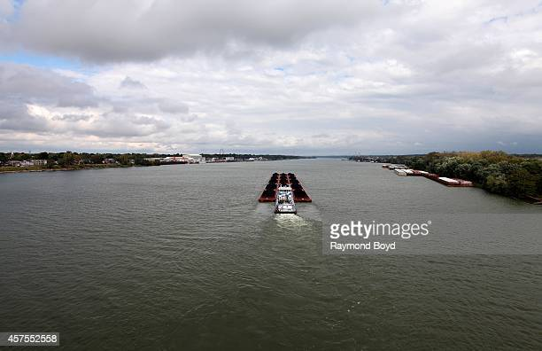 Laura Tamble barge pushes cargo up the Ohio River on October 03, 2014 in Louisville, Kentucky.