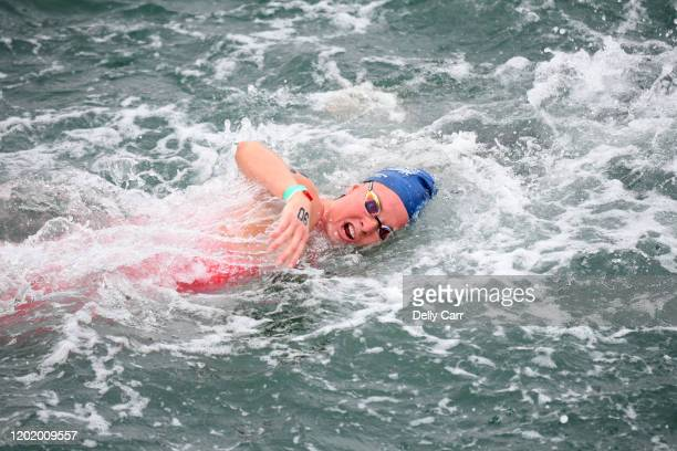 Laura Taylor of Australia swimming the 5km race during the 2020 Australian Open Water Swimming Championships at Brighton Beach on January 26 2020 in...