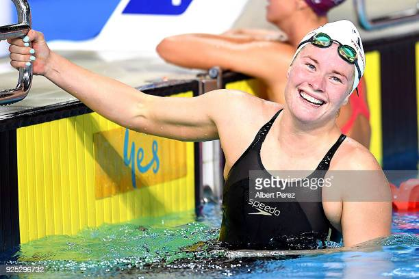 Laura Taylor smiles after winning the final of the Women's 200m Butterfly event during the 2018 Australian Swimming National Trials at Optus Aquatic...