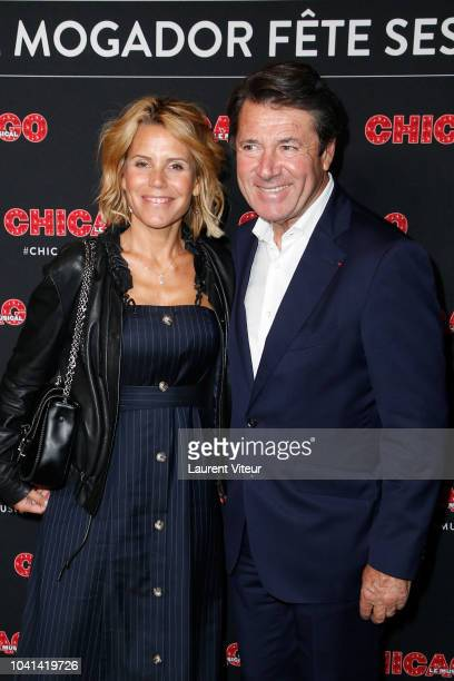 "Laura Tenoudji and Christian Estrosi attend ""Chicago"" Paris Premiere at Theatre Mogador on September 26, 2018 in Paris, France."