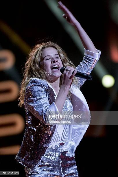 Laura Tesoro of Belgium performs during the Dress Rehearsal of the Grand Final ahead of the 2016 Eurovision Song Contest in Stockholm Sweden on May...