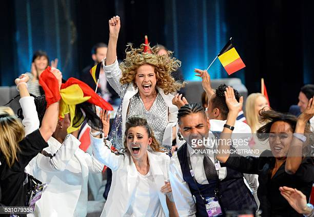 Laura Tesoro representing Belgium celebrates as she advances to the grand final after qualifying in the second semifinal of the Eurovision Song...