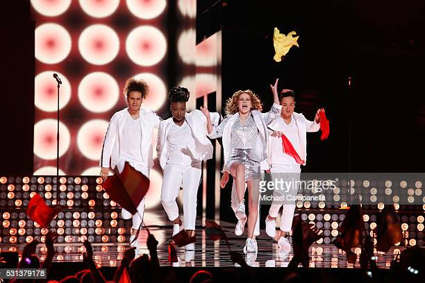Laura Tesoro representing Belgium performs the song What's The Pressure at the Ericsson Globe on May 14 2016 in Stockholm Sweden