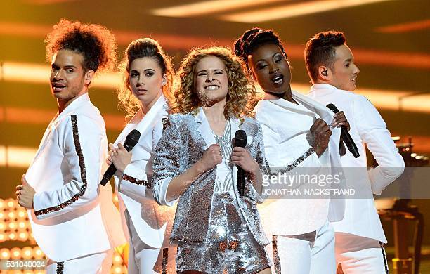 Laura Tesoro representing Belgium performs the song What's The Pressure during the Eurovision Song Contest 2016 semifinal at the Ericsson Globe Arena...