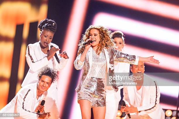 Laura Tesoro representing Belgium performs the song What's The Pressure during the semifinals of the 2016 Eurovision Song Contest at Ericsson Globe...