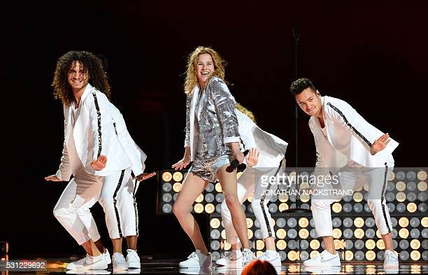 Laura Tesoro representing Belgium performs the song 'What's The Pressure' during the dress rehearsal for the Eurovision Song Contest 2016 Grand Final...