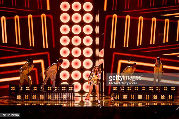 Laura Tesoro representing Belgium performs the song What's The Pressure during the final dress rehearsal of the 2016 Eurovision Song Contest at...