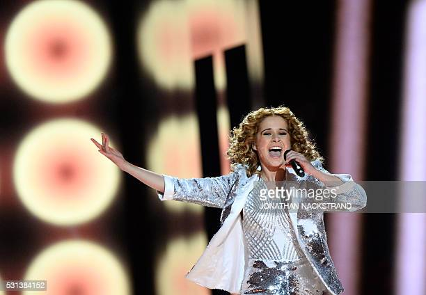 Laura Tesoro representing Belgium with the song What's The Pressure performs during the final of the Eurovision Song Contest 2016 Grand Final in...
