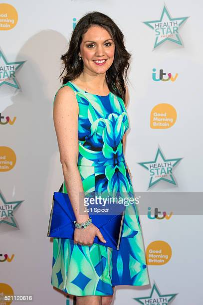 Laura Tobin arrives for Good Morning Britain's Health Star Awards at Hilton Park Lane on April 14 2016 in London England