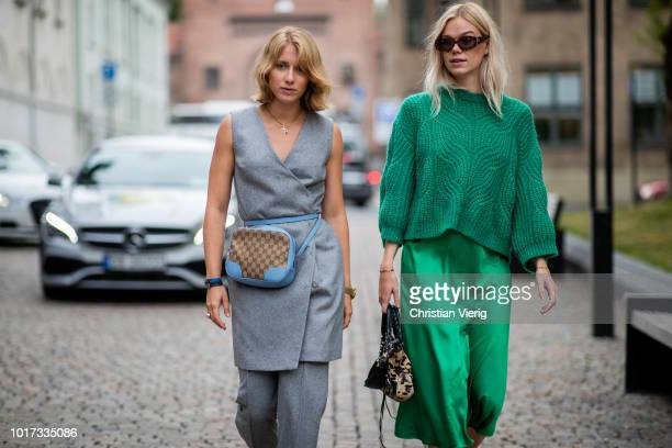Laura Tonder seen outside Moire during Oslo Runway SS19 on August 15, 2018 in Oslo, Norway.