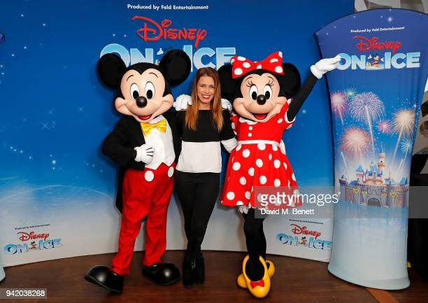 Laura Tott meets Mickey Mouse and Minnie Mouse for the opening night of Disney On Ice presents Worlds of Enchantment at The SSE Arena Wembley on...