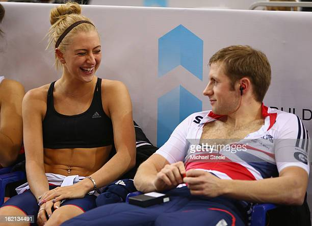 Laura Trott alongside her boyfriend and team mate Jason Kenny during practise ahead of the UCI Track World Championships at Minsk Arena on February...