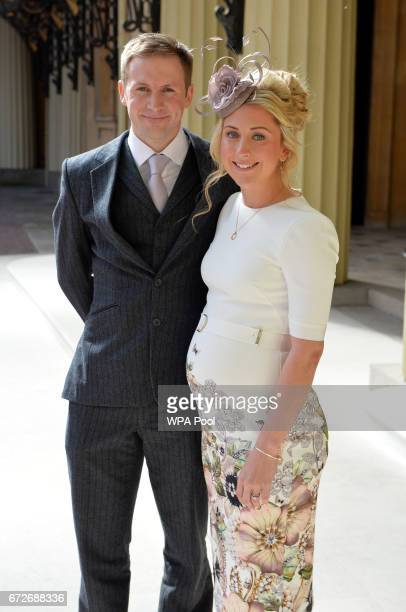 Laura Trott and husband Jason Kenny arrive at Buckingham Palace where they will be awarded CBEs for services to cycling during an investiture...