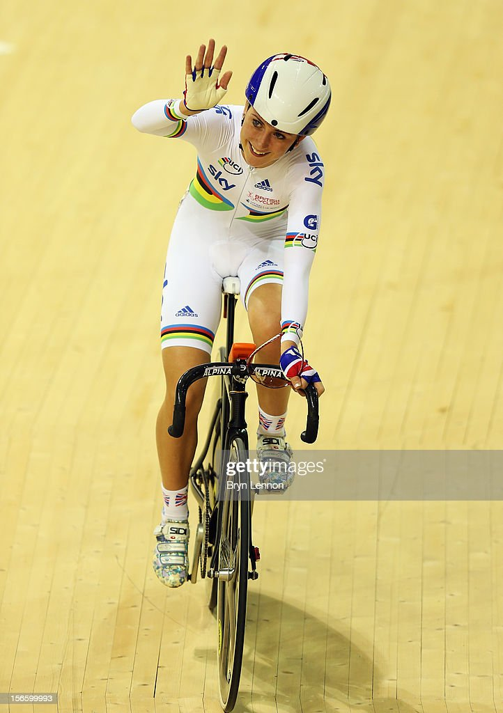 Laura Trott celebrates winning the Elimination race in the Women's Omnium during day two of the UCI Track Cycling World Cup at Sir Chris Hoy Velodrome on November 17, 2012 in Glasgow, Scotland.