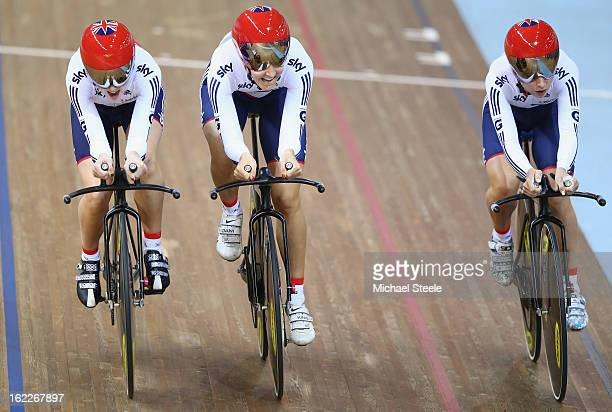Laura Trott Dani King and Elinor Barker of Great Britain cross the finishing line to win gold in the women's team pursuit final during day two of the...