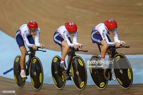 Laura Trott Elinor Barker and Dani King of Great Britain qualify fastest in the women's team pursuit during day two of the UCI Track World...